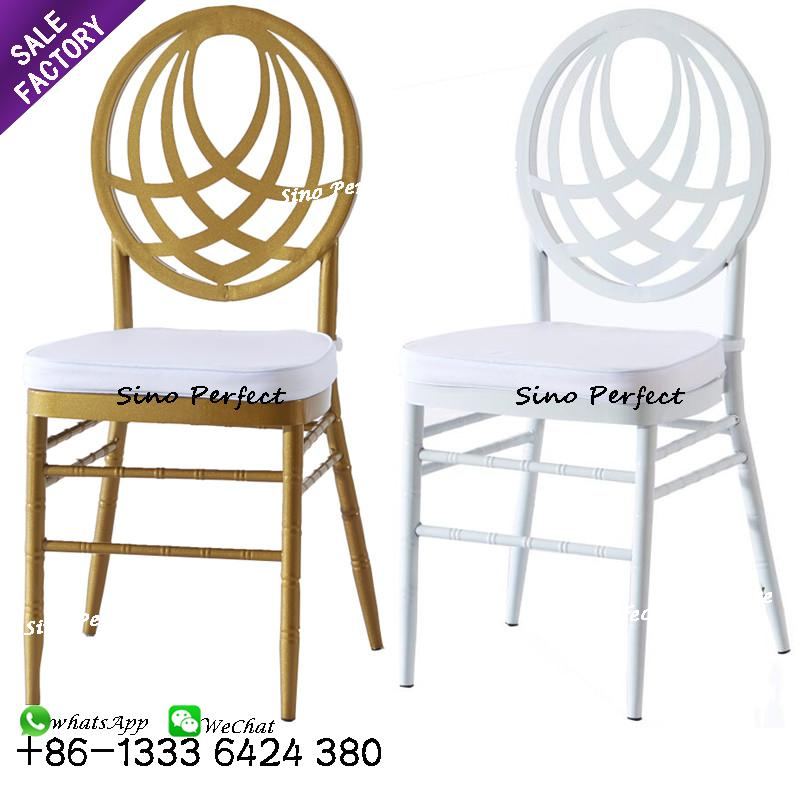 New design cheap price wedding furniture gold steel tiffany chair used for rental