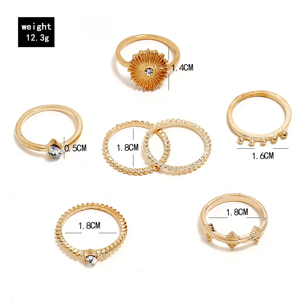 Simple multi-piece ring set with geometric diamond ring set women jewelry 7pcs/set