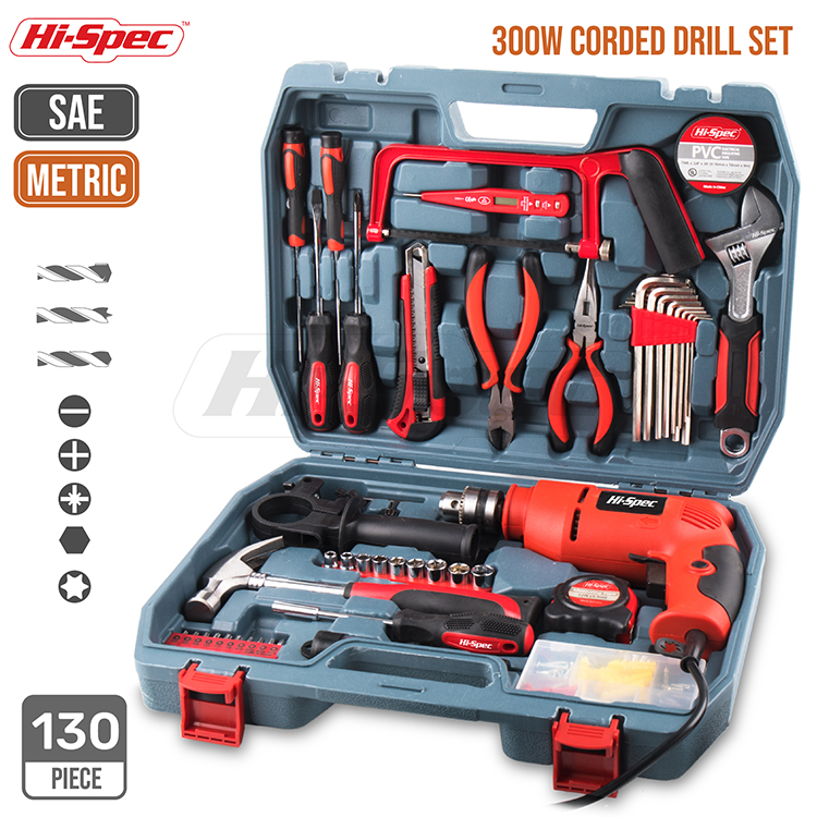 Hispec 8V Cordless Drill Screwdriver Tool Kit Power Tool Set with 1300mAh Lithium-Ion Battery Variable Speed Trigger & 10N.m LED