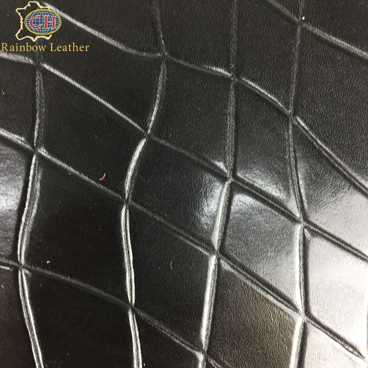 CHCBLL0408-3 Good Quality Black Embossed Mesh Pattern Cow Skin <strong>Genuine</strong> <strong>Leather</strong>
