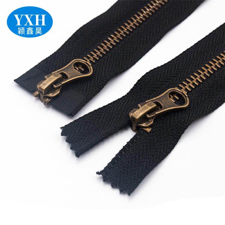Custom Double Open End Copper Metal Zipper  Leather Zip