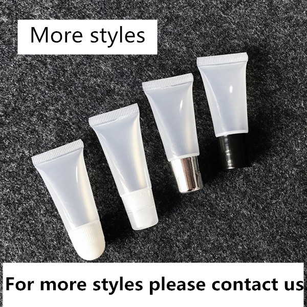 Low MOQ custom logo transparent lip balm squeeze tube lipgloss squeeze tube