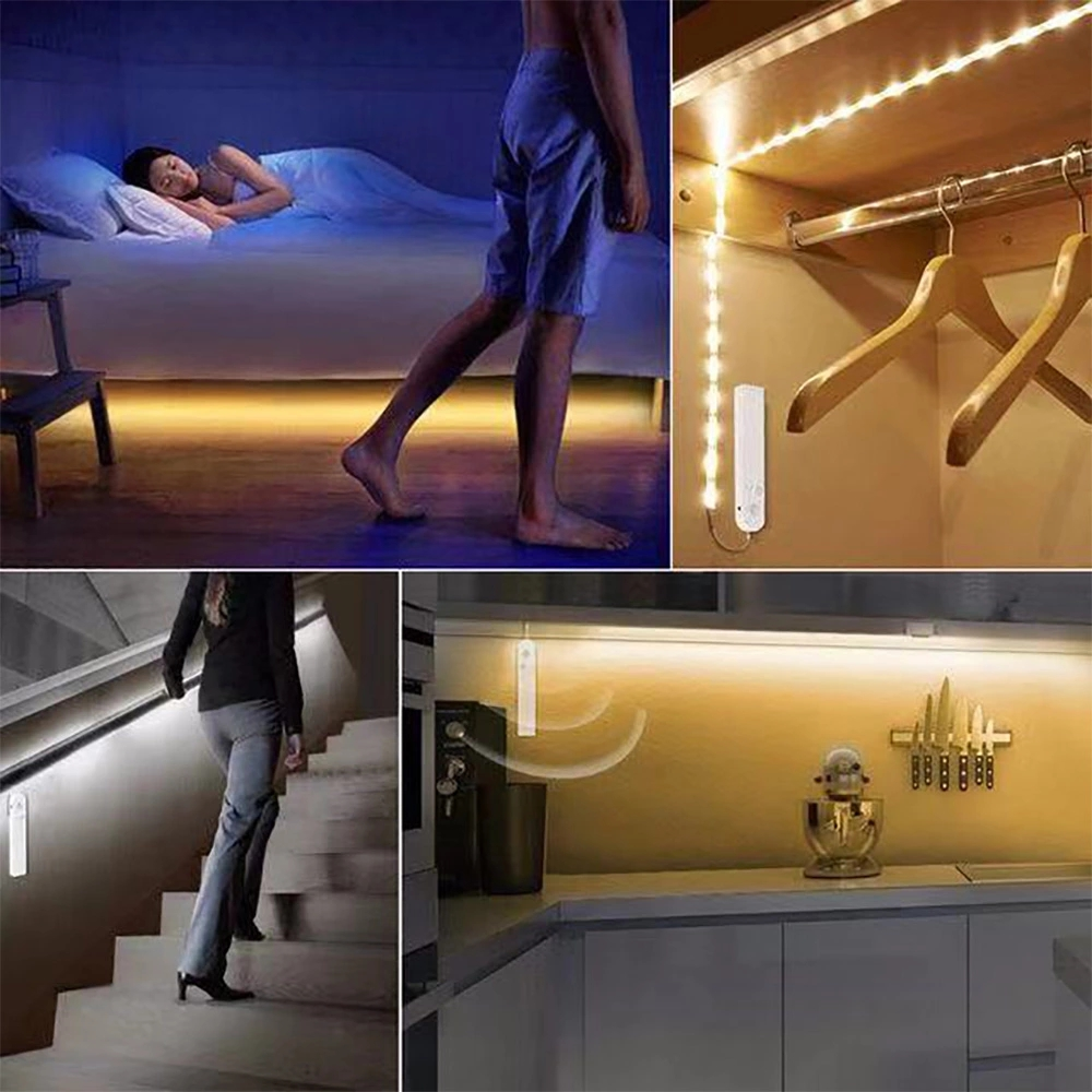 2019 Amazon Ebay Warm Wit Koel Wit ip65 Zacht Nachtlampje 1m Kast Gangpad Closet Bed led motion sensor led strip licht