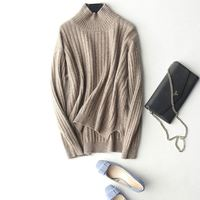 Aw2019 New Fashion Custom Turtleneck Stylish Rib Knitted Side Slit Knitwear Ladies Sweaters For Women Yak Merino Wool