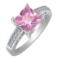 fashion New Design Rings Jewellery Silver Plated Pink Diamond Engagement zircon rings JZ75