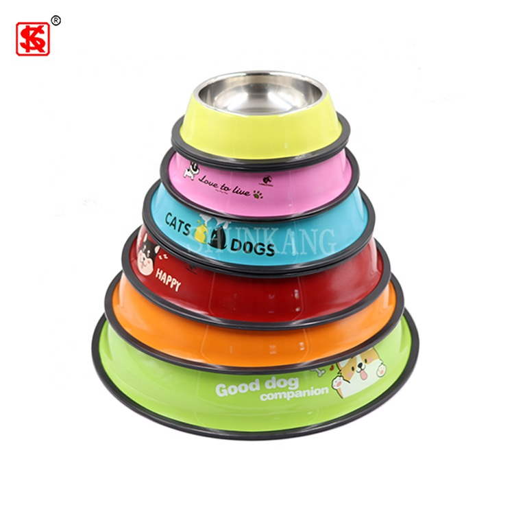 Dog Feeder Color Printed Stainless Steel Pet Bowl With Rubber Bottom Puppy Drinking Bowl Dish