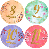 High quality pregnancy boy month 1-12 monthly baby milestone stickers