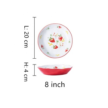 Porcelain ceramic plates red and white bakeware fruit dish restaurant plates for kitchen bakeware cook cake tray