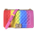 2020 Fashion luxury rainbow purse chain lady colorful bags candy jelly hand bags handbags crossbody women purses handbag