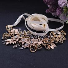 TRiXY SH282-G Стразы пояс формальное платье пояс цветок свадебный пояс лист цвета розовое золото свадебный пояс женский пояс(Китай)