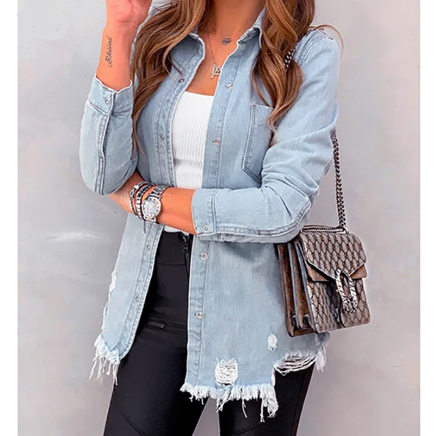 New Casual Autumn Women Tops Denim Shirt Blouse Button <strong>hole</strong> Ripped Jeans Shirts Female