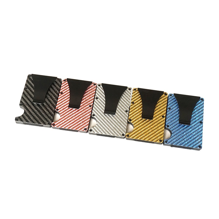 Best Selling Minimalist RFID Blocking Carbon Fiber Card Wallet Metal Mens Wallet with Money Clip