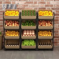 Wooden display rack supermarket fruits and vegetables shelf vegetable rack for store