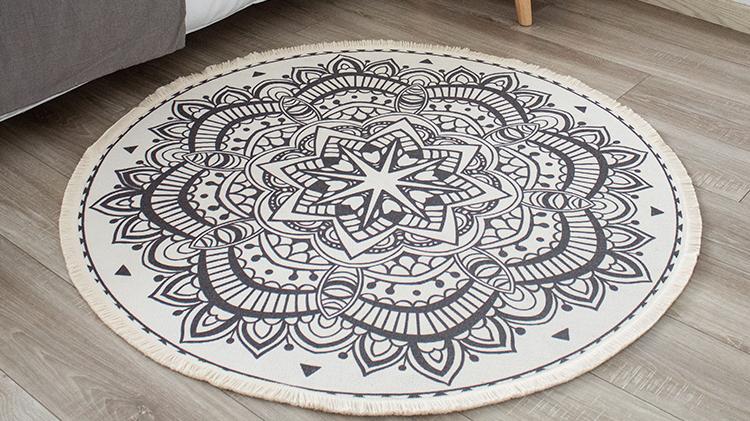 Новый дизайн Декор для гостиной круглый напольный коврик цифровая печать круглый ковер с бахромой