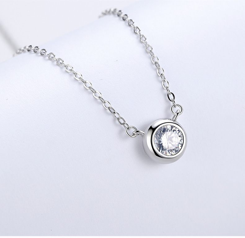 7MM 9MM Round Diamond Pendant Necklace 925 Sterling Silver Necklace Pendant