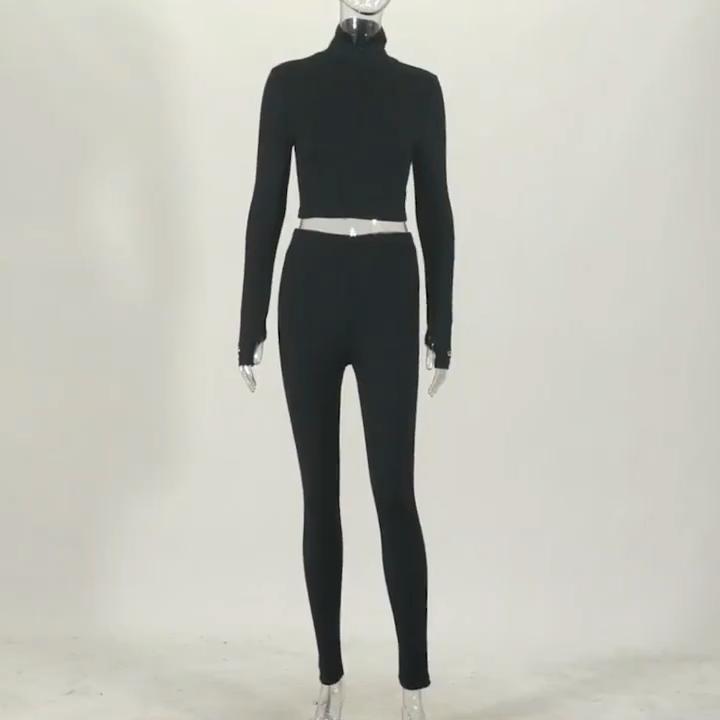 2020 Baru Musim Gugur Pakaian Lengan Panjang Crop Top Celana Ketat Berusuk Pakaian Latihan Yg Hangat 2 Dua Piece Wanita Pakaian Olahraga Set 10 Warna