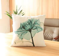 Cotton and linen creative hand-painted flowers digital printing pillow sofa cushion