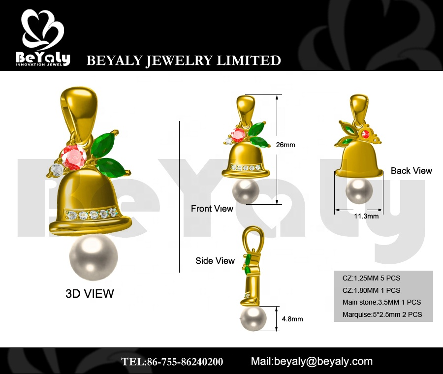 product-BEYALY-Beyaly OEM ODM Custom Gold Plated Three Color Geometric Stone Bell Pearl Pendant-img