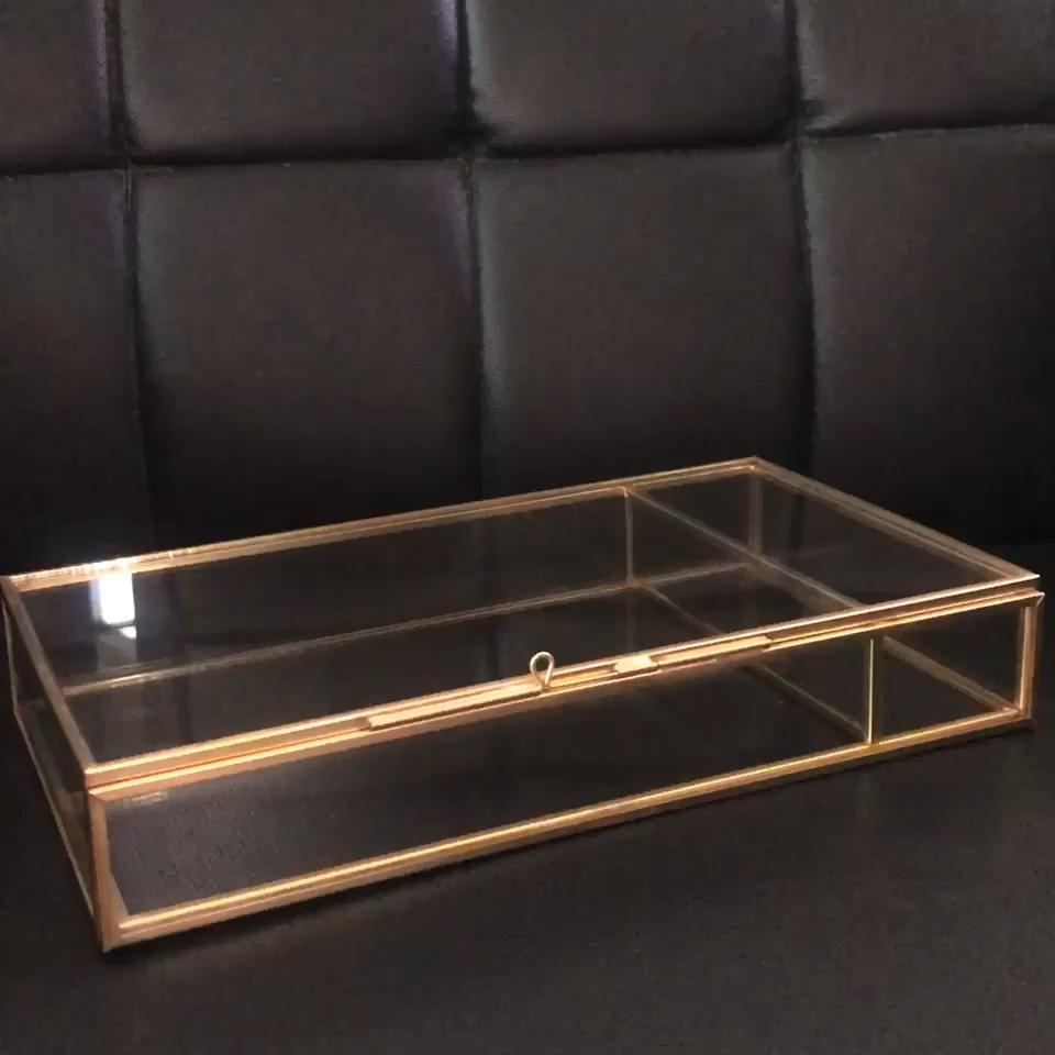 Confezione Regalo Set di presentazione photo frame di vetro e ottone di lusso album di nozze box
