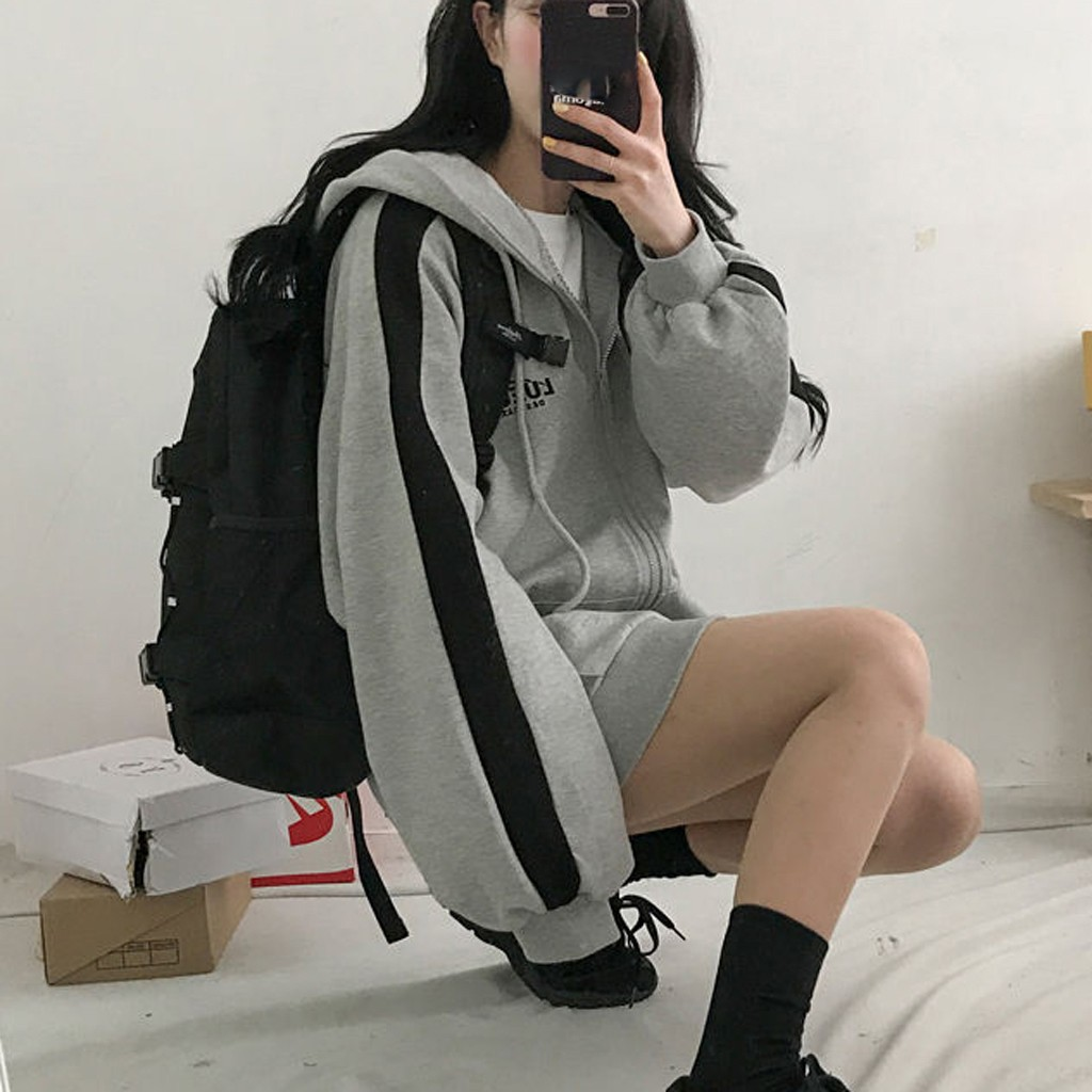 Harajuku estilo gris Oversize estudiante prendas de vestir