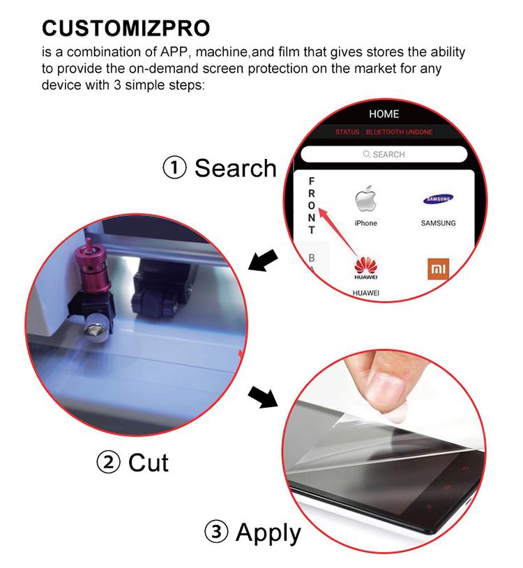 MRYES TPU הידרוג 'ל גיליון מכונת חיתוך נייד קדמי חזרה סרט 360 הגנה