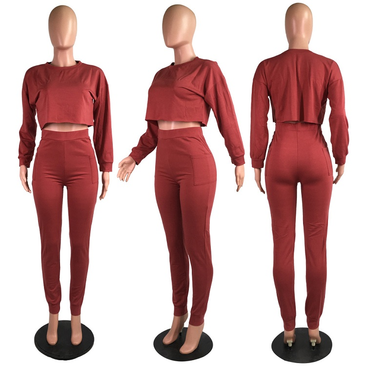 9082725 good quality candy color long sleeve 2 piece set women two piece set women clothing