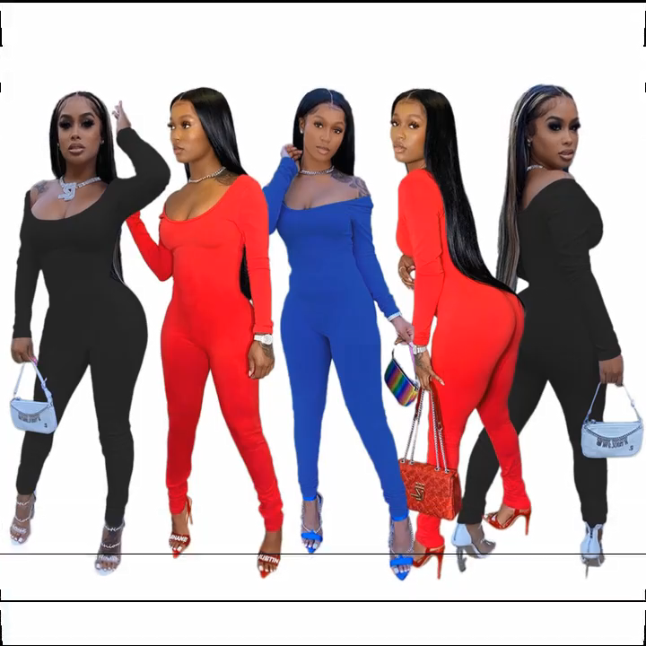 Hot Sale Casual Fashion Solid Color Sexy Off The Shoulder Jump Suit Basic Bodysuits Women One Piece Jumpsuits And Rompers