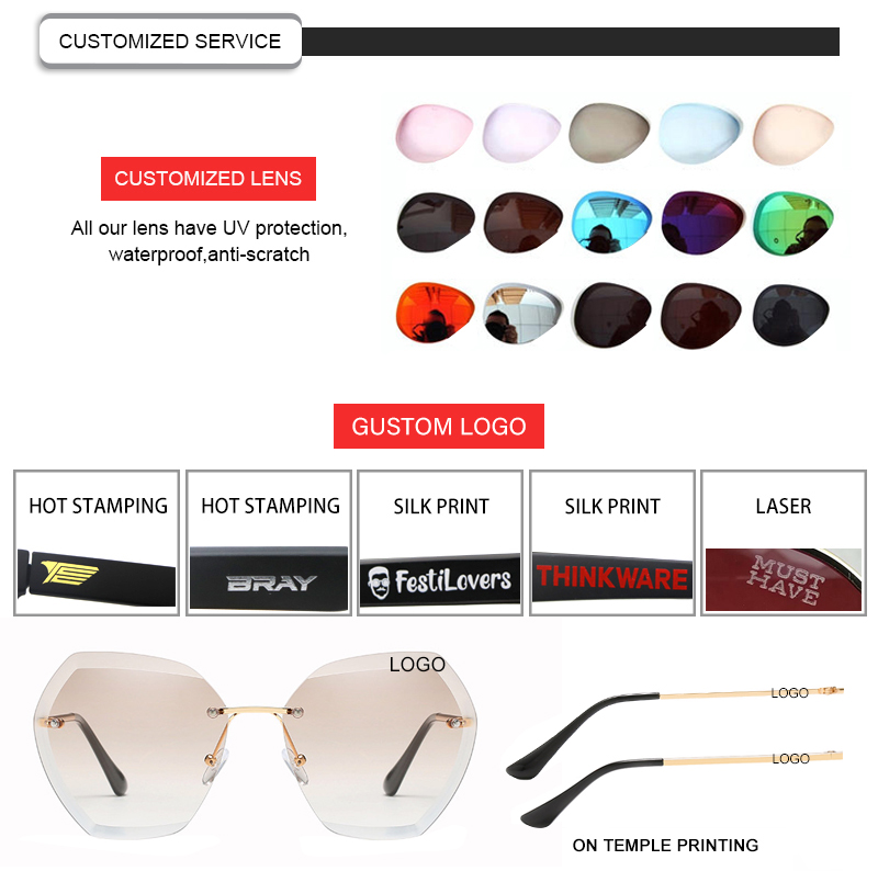 Fashion Oversized Vintage Shades Polygon Rimless Women Women Female Lady Metal Designer Sunglasses