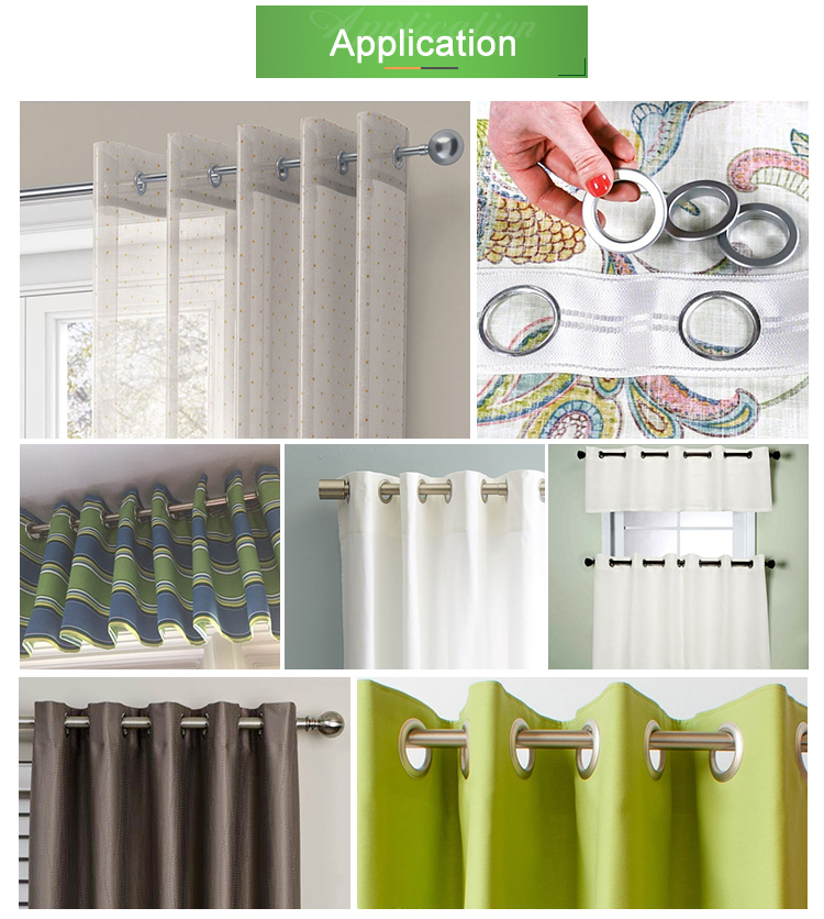 Top selling curtain accessories curtain eyelet tape custom size various color rings curtain tape with rings