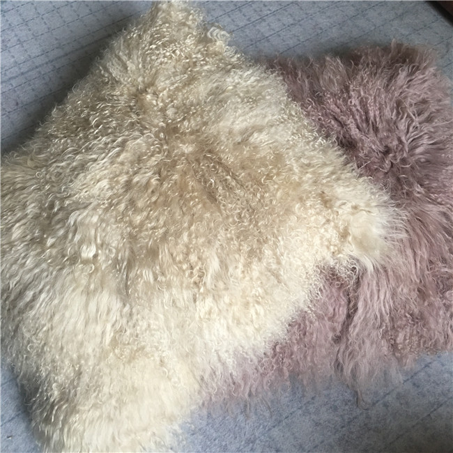 Cheap price real tibet lamb fur cushion cover
