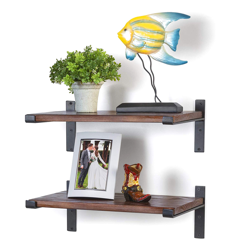 Ins style round burn color wood wall floating shelves with metal