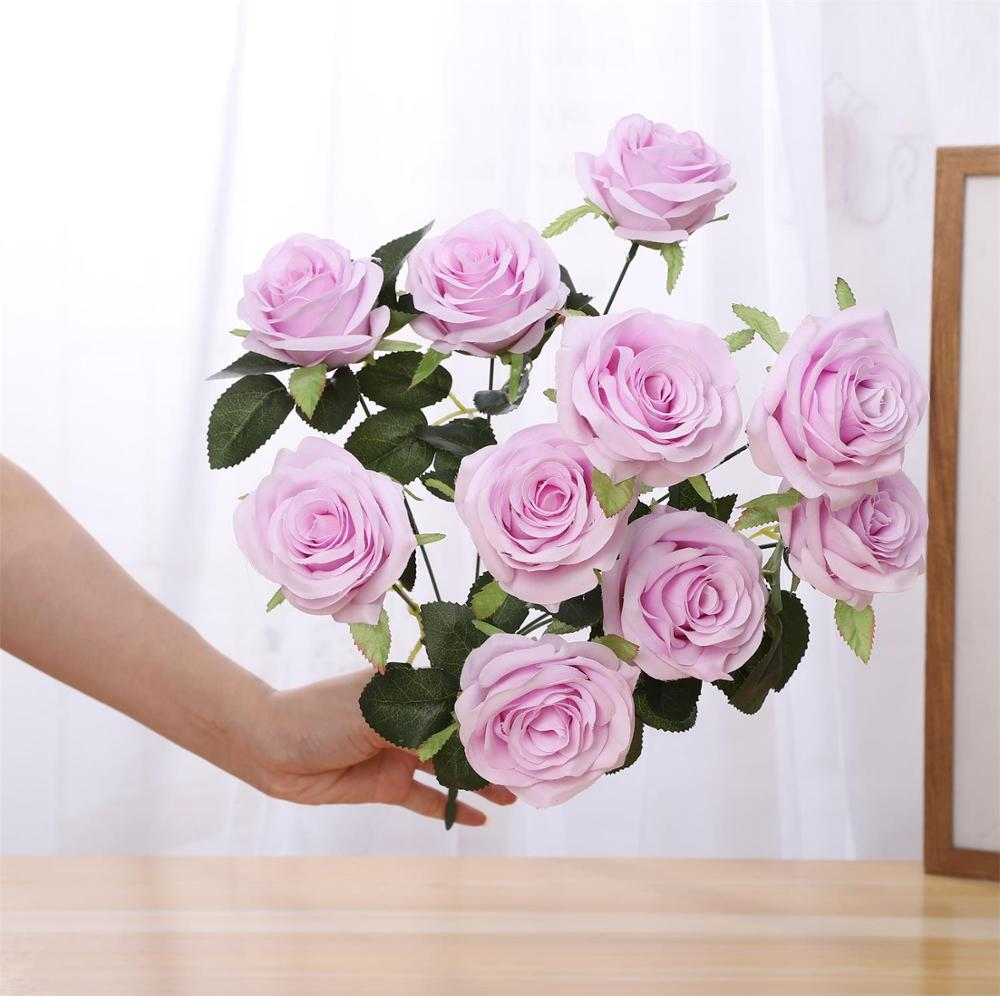 7 <strong>Flower</strong> Heads Wholesale artificial <strong>flower</strong> bouquets arrangement for wedding decor