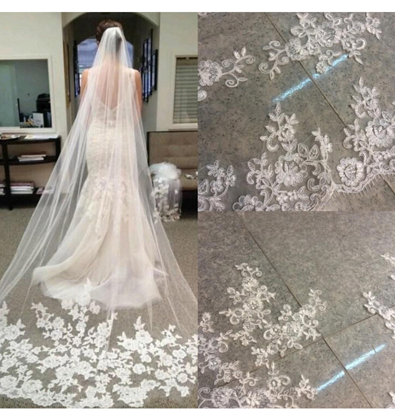 Lace Purfle Long Wedding Veils Ivory Cathedral Wedding Veil Chapel Length Bridal Veils with Appliques