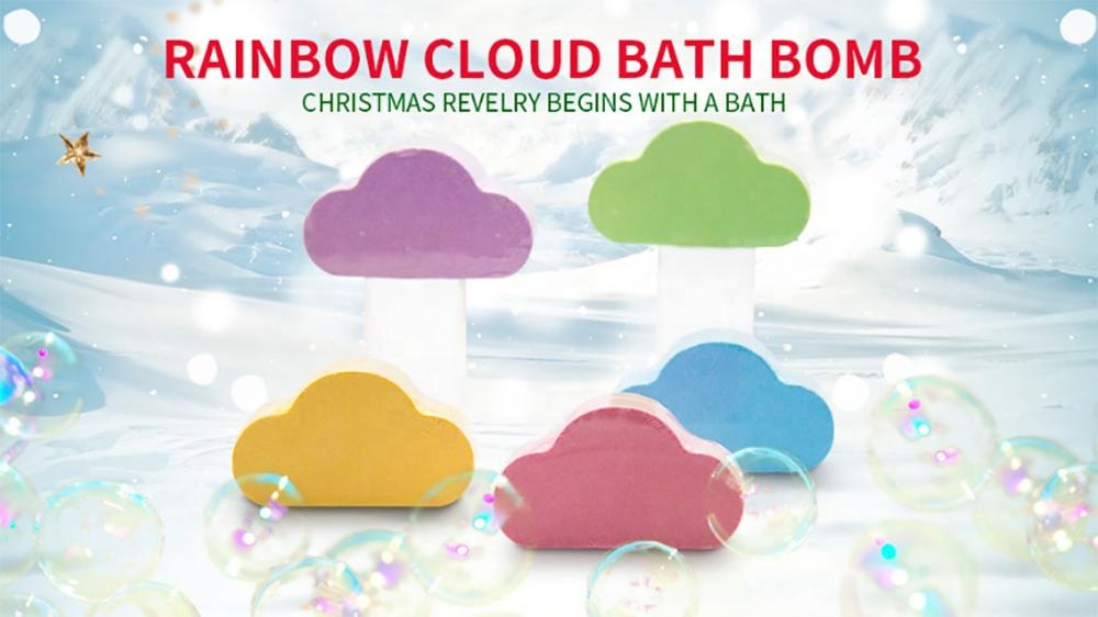 OEM Factory Direct Sale Natural and Organic Colorful Fizzy Cloud Rainbow Bath Bombs For Christmas