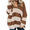 Wholesale Women Fashion Casual V Neck Loose Color Block Sweater