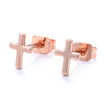 EYIKA silver jewelry rose gold earrings cross stud earring 925 sterling silver stud earring