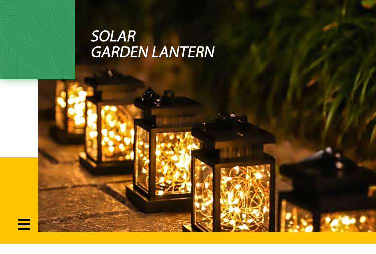 Solar lamp Outdoor Hanging Lights Waterproof metal Solar Lantern for Garden Yard Patio Lawn Decorative