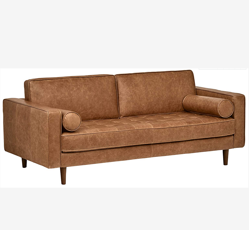 Tapered Wood Legs Modern Sectional Futon Living Room Tufted Mid-Century Leather Bench Loveseat Couch Sofa
