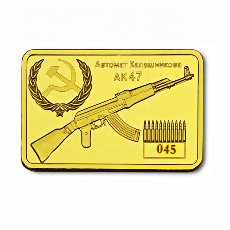 FS-Craft Metal kaplama AK47 rus silah hatıra dikdörtgen sikke külçe 24k saf Bar altın