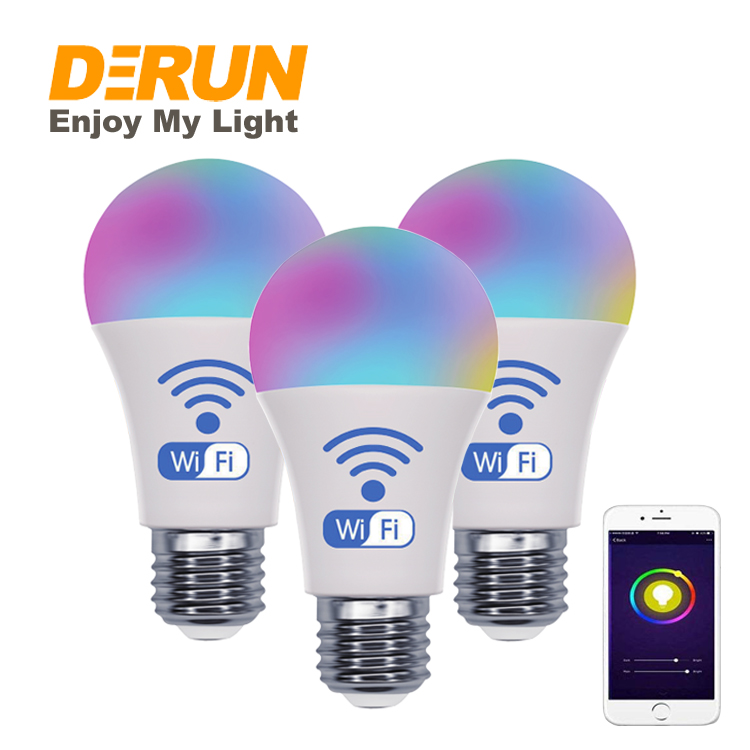Smart WiFi Light Bulb LED RGB Color Changing Compatible with Alexa and Google Home Assistant A60 Multicolor , LED-Smart
