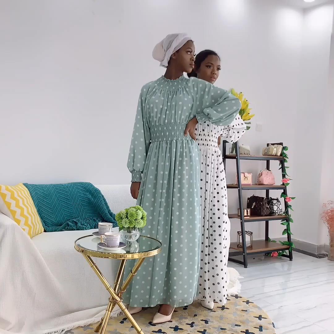 Wholesale Turkey Ramadan abaya muslim dress women chiffon elastic waist sweet dots party dress