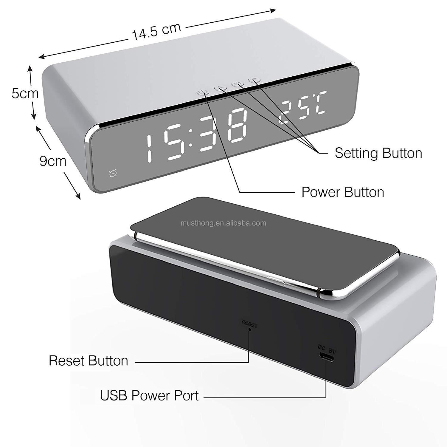 Newest Modern Design Wireless Charging Alarm Clock and Desktop Thermometer Portable LED Digital Display Mirror Clock