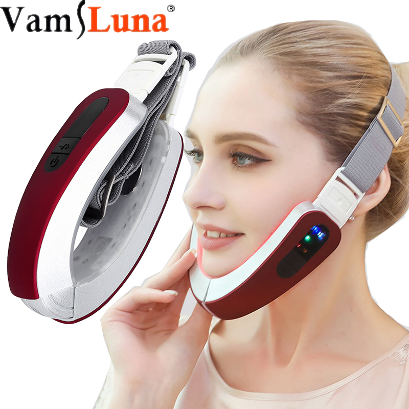 Thin Face Artifact Microcurrent Facial Massage Machine  V Line Face Lifting Red Blu Ray Beauty Instrument