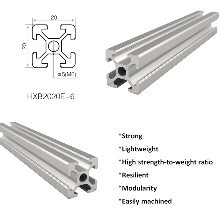 Light aluminum extrusion profile for aluminum linear rail 20X20mm wiht groove 6mm