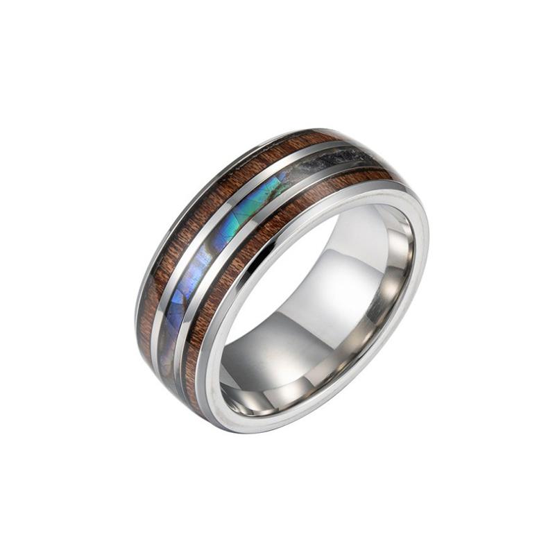 Ювелирные изделия оптом простые конструкции бесплатная лазерные логотип 8 мм деревянный узор палец мужские кольца