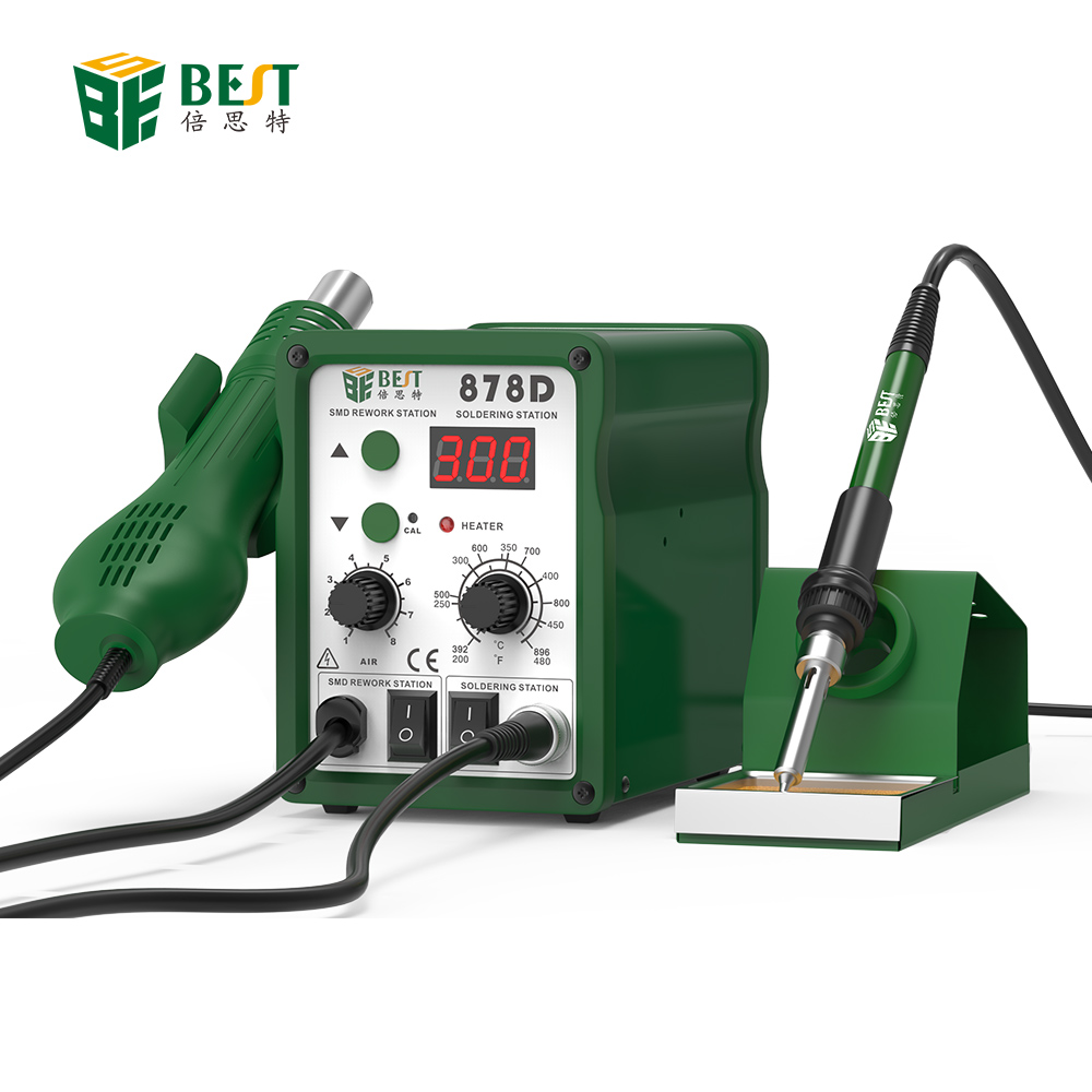 BST-878D Automatische Elektronica Reparatie Telefoon Hot Air Blower Heat Gun SMD Rework Station Digitale Desolderen Soldeerstation