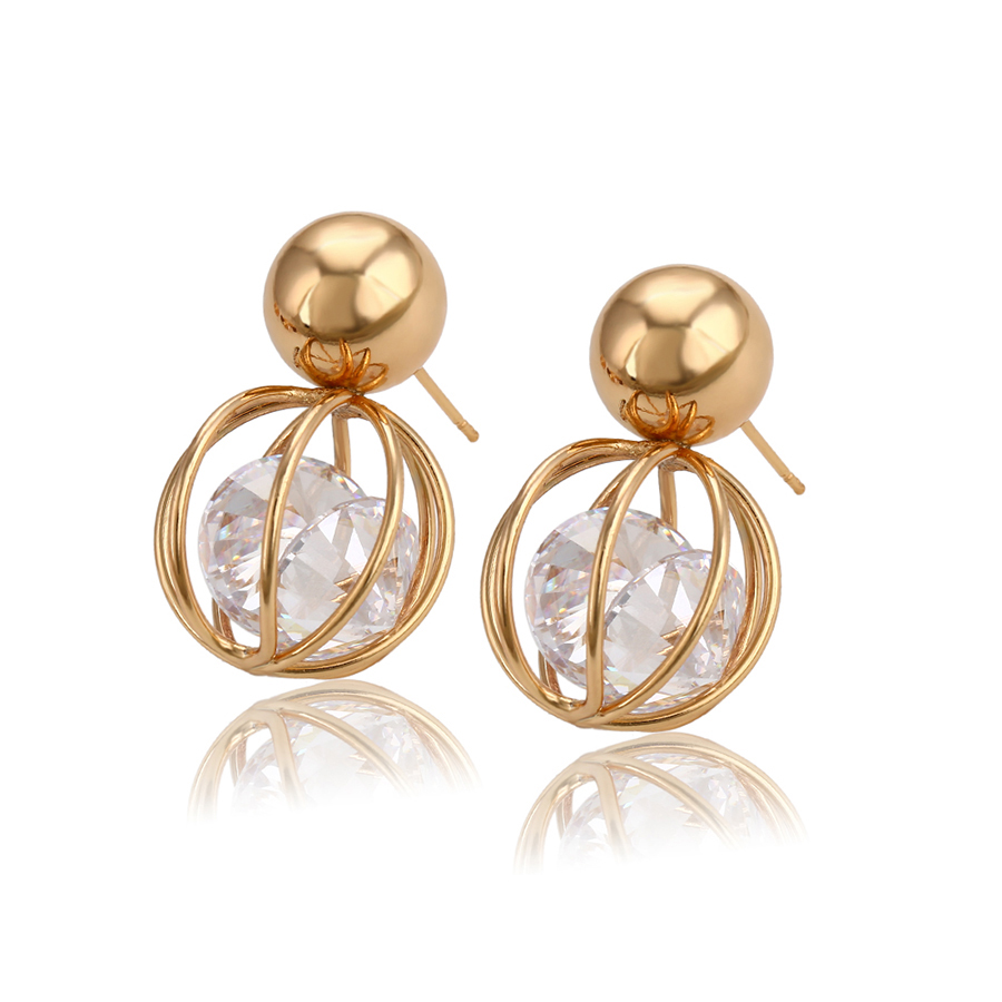 93045 xuping New birdcage hollow double zircon rotating earrings