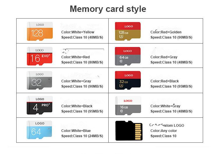 100% Full Capacity 16GB 32GB 64GB 128GB up to 95MB/s UHS-I/U3 A1 Flash Memory Card C10, V30, 4K UHD, TF Card