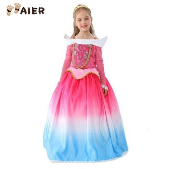 New Style Princess Party Sleeping Beauty Turquoise Dress For Girls To Join Party