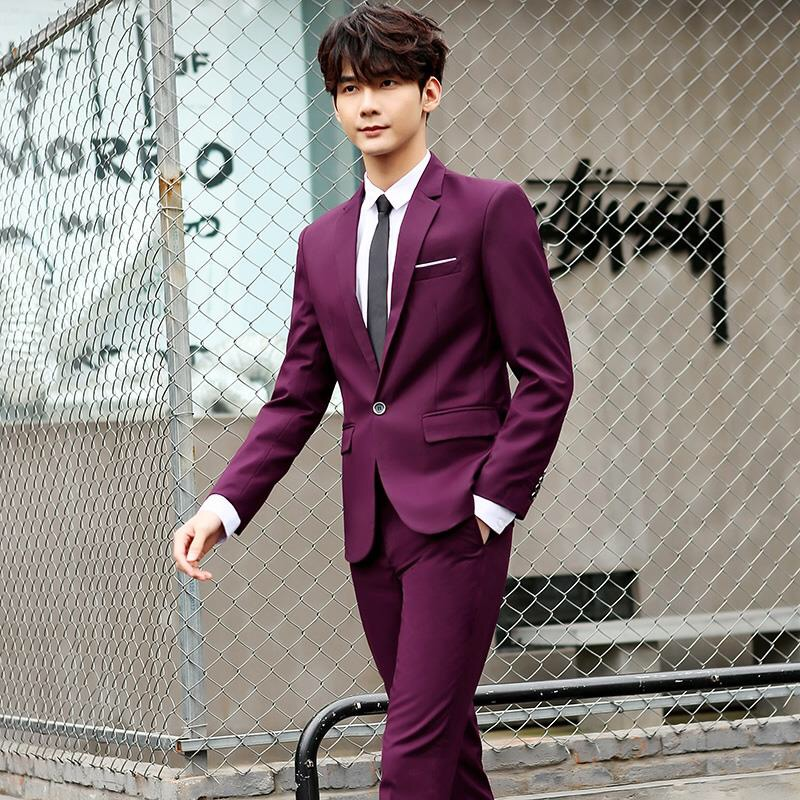 Mens Suits 3 Pieces Slim Fit Wedding Formal Dinner Black Navy Wine Red One Button Lapel Tuxedo Blazer Jacket Buy Wine Red One Button Lapel Tuxedo Blazer Jacket Mens Suits Wedding Formal Dinner
